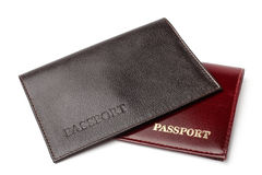 Leather covers for passport Stock Photo