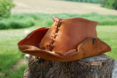 Leather Cowboy Hat Stock Photo