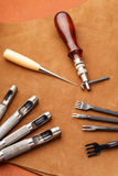 Leather craft equipment Royalty Free Stock Images