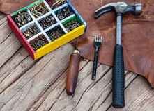 Leather craft. Hand sewing tool set royalty free stock images