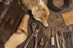 Leather craft items Stock Images