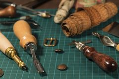 Leather craft tools stock photos