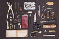 Leather craft tools and utensils Stock Photography