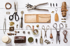 Leather craft tools Royalty Free Stock Image