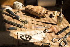 Leather craft tools Royalty Free Stock Photos