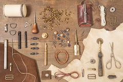 Leather craft tools Stock Photo