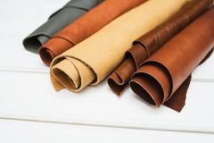 Leather craft. Work table of leather Royalty Free Stock Photography