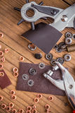 Leather crafting DIY tools Royalty Free Stock Photo