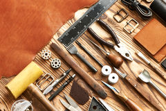 Leather crafting tools Royalty Free Stock Images