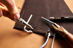Leather crafting tools Royalty Free Stock Photography