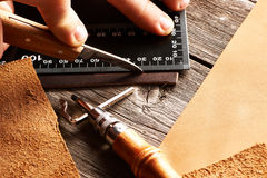 Leather crafting tools Royalty Free Stock Image