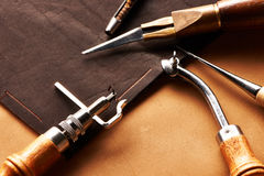 Leather crafting tools Stock Images