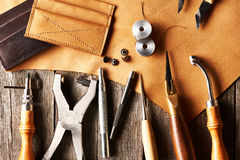 Leather crafting tools Stock Photos