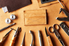 Leather crafting tools Stock Photography