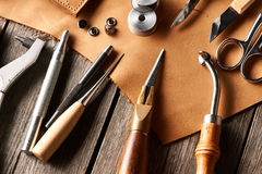 Leather crafting tools Royalty Free Stock Photo