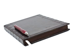 Leather diary with pen Royalty Free Stock Photo