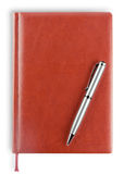 Leather diary with pen Royalty Free Stock Image