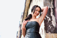 In a leather dress Royalty Free Stock Photography