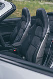 Leather driver seats in luxury sportscar Royalty Free Stock Photos