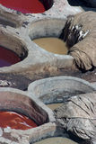 Leather dyeing vats in Morocco Stock Photography