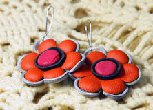 Leather earrings in ethnic style Royalty Free Stock Images
