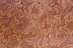 Leather Embossed Floral Pattern Stock Photography