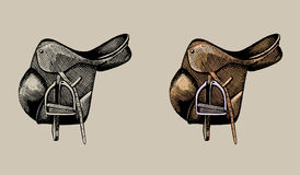 Leather equestrian saddle, hand drawn illustration Stock Image