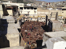 Leather factory in Fez - Marocco Royalty Free Stock Photos