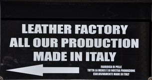 Leather factory sign Royalty Free Stock Photography