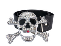 Leather fashion belt, buckle skull and crystals Stock Image