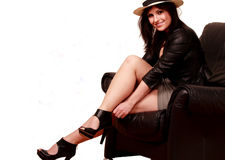 Leather fashion girl Royalty Free Stock Images