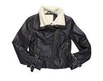 Leather female biker  modern jacket isolated on white. Royalty Free Stock Image