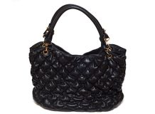 Leather female black bag an accessory Royalty Free Stock Images