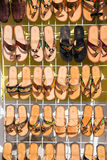 Leather female slippers, flip flops on shop stand, Cozumel, Mexico Stock Photos