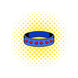 Leather fetish collar icon, comics style. Leather fetish collar icon in comics style on a white background Royalty Free Stock Photo