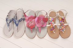 Leather flip flops, assortment Royalty Free Stock Photography