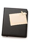 Leather folder and a card Royalty Free Stock Images
