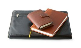 Leather folder with the diaries Royalty Free Stock Photos