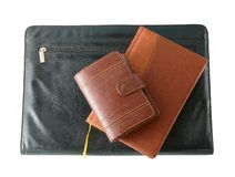 Leather folder with the diaries Royalty Free Stock Image