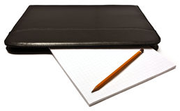 Leather folder notepad pencil Royalty Free Stock Photo