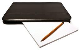 Leather folder notepad pencil Royalty Free Stock Photo