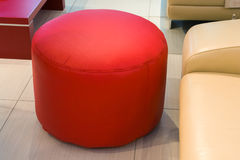 Leather foot stool ottoman Stock Photography