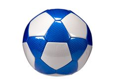 Glossy Blue Soccer Ball isolated. Leather Football with copy area and to coincide with world cup Royalty Free Stock Photos