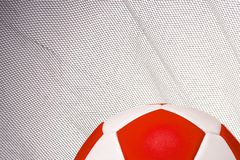 A backdrop for soccer fans. Leather Football with copy area and to coincide with world cup Moscow Stock Photos