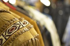 Leather Fringe. Suede and leather fringe jackets with bead work Royalty Free Stock Photos