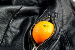 Leather and fruit. Fruity fruit in the bag Stock Photography