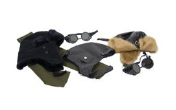 Leather and fur Aviator hats Stock Photos