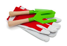 Leather garden gloves and tools Stock Photo