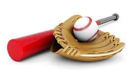 Leather glove with baseball and bat Stock Image