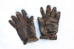 Leather glove on the snow Stock Image
